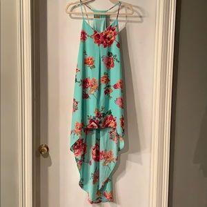 Floral print high-low dress